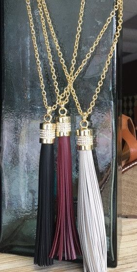 Fashion long chained tassel necklace with rhinestones