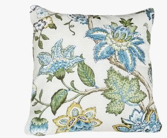 Blue Floral Pillows, Decorative Throw Pillow, Cushion Cover, Jacobean Flowers, Blue Green on ...