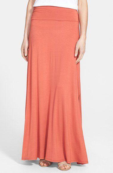 92dd3d46bab Bobeau Ruched Waist Side Slit Maxi Skirt (Regular   Petite ...