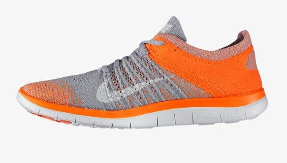 2014 Nike Free Flyknit 4.0 Mens Wolf Grey Netherlands Orange
