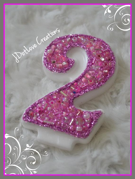 Sparkly Pink Number 2 Birthday Candle On Etsy 500
