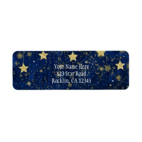 bright blue silver starry celestial invitation label