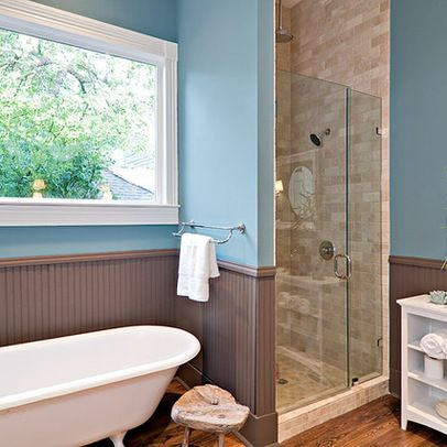 clawfoot tub with separate shower | clawfoot tub, beadboard ...