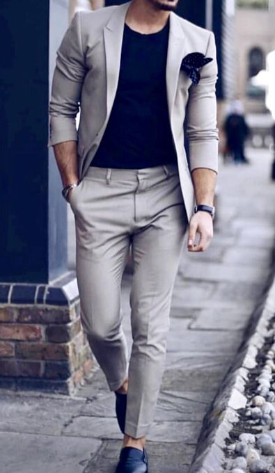 b67c1bbcc50 Great business casual look inspiration! Tan men s suit with a black  T-shirt.  mensoutfits  businesscasual  mensfashion  menswear  menstyle ...