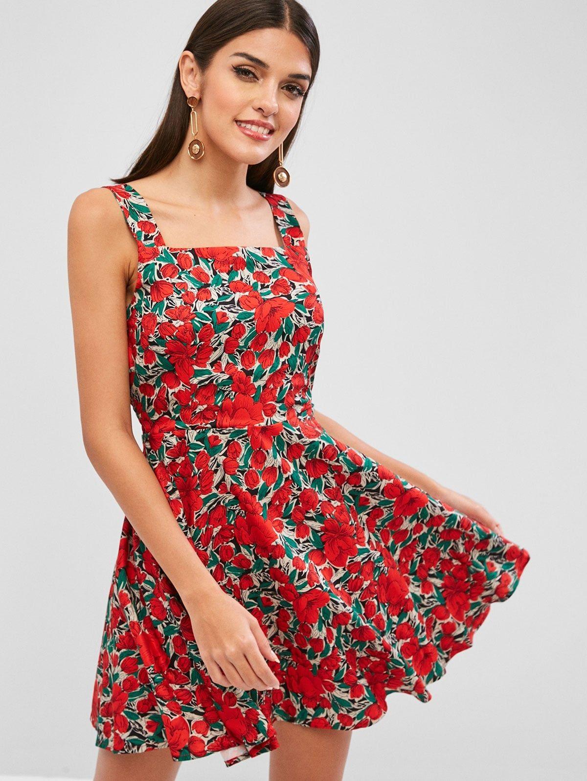 Floral Smock A Line Mini Dress Red Ad Line Smock Floral Red Dress Ad Print Dress Women Dresses Classy Red Mini Dress [ 1596 x 1200 Pixel ]