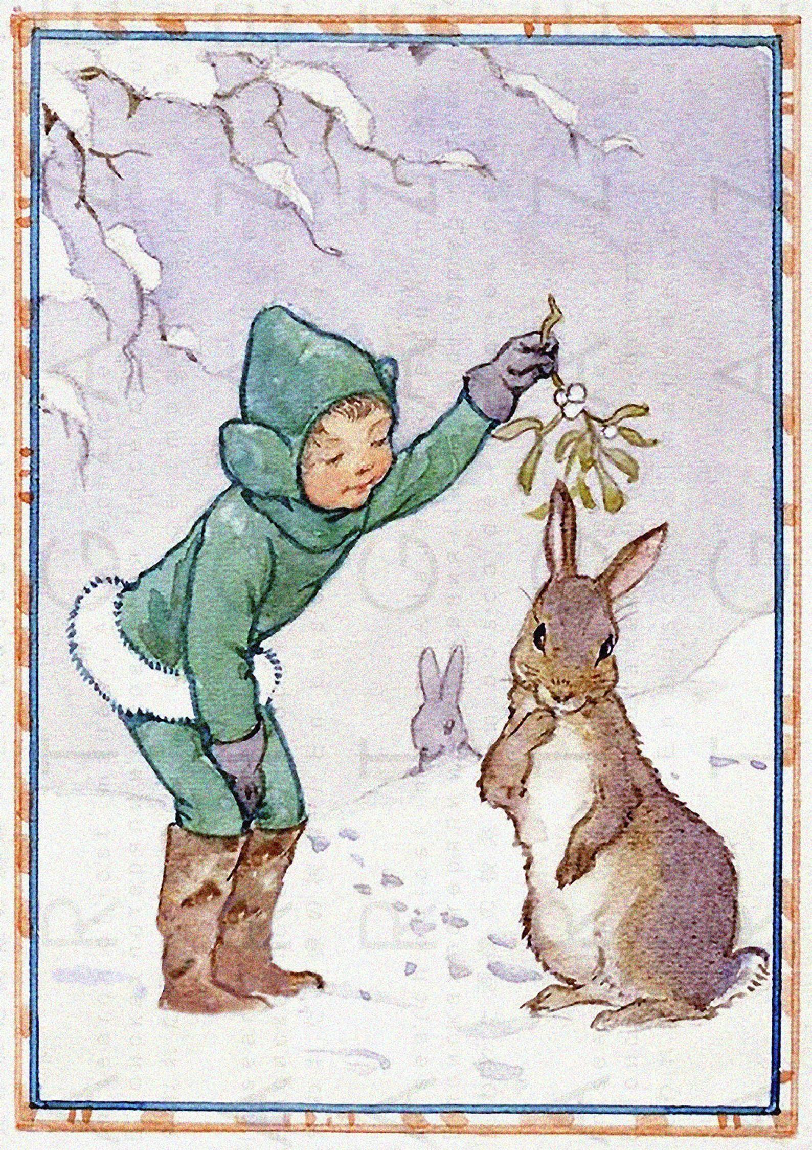 Christmas Elf Bunny Under A Mistletoe Branch Vintage Christmas Illustration Adorable Digital Christmas Download In 2020 Christmas Illustration Bunny Art Illustrators
