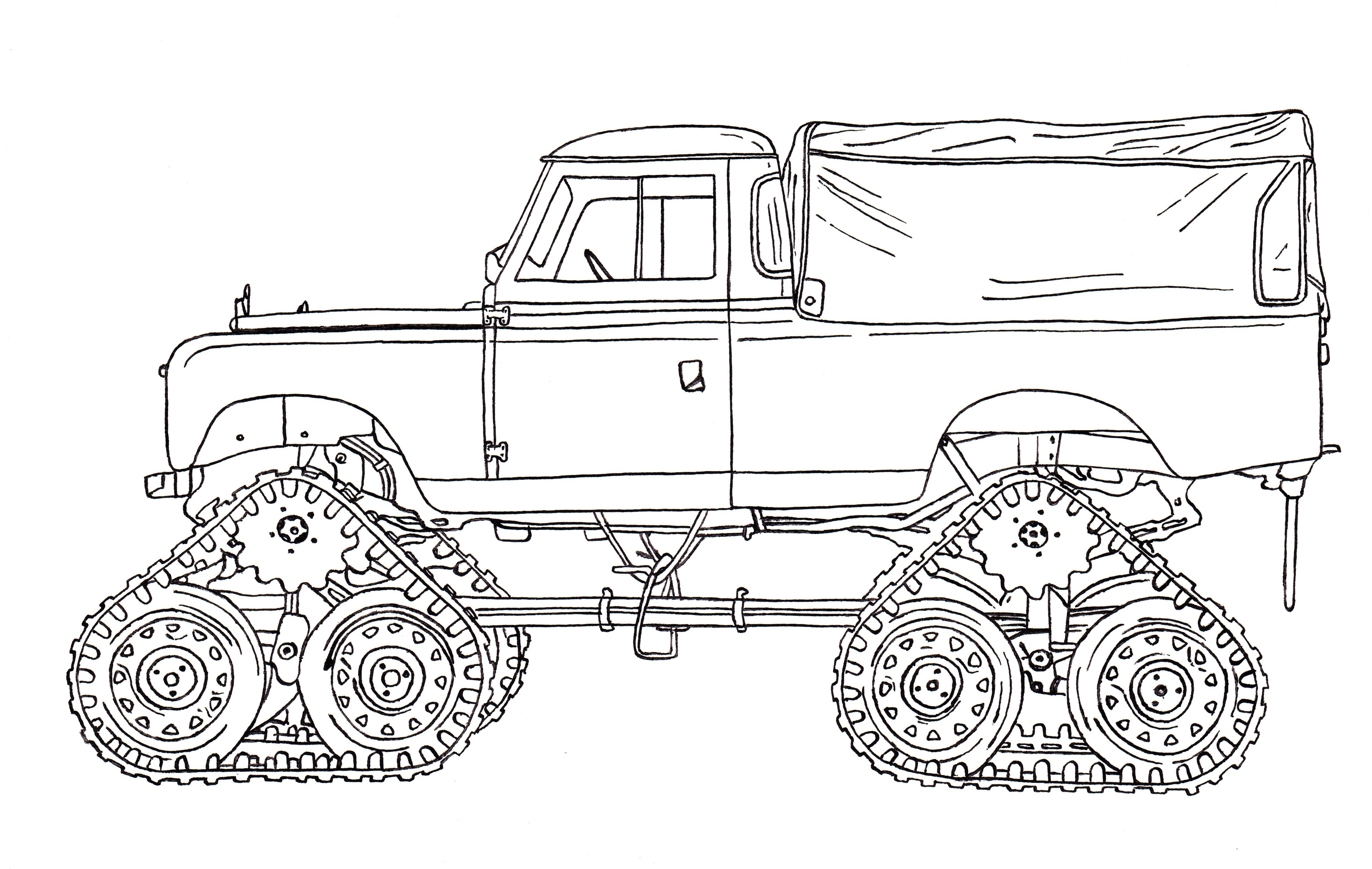 Series II Cuthbertson Tracked Land Rover Ink Drawing | Land Rover ...