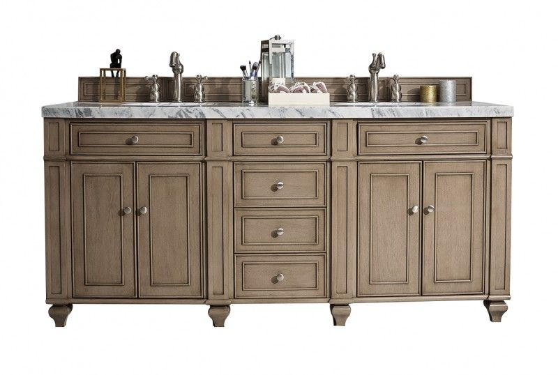 72 Inch Traditional Double Sink Bathroom Vanity Whitewashed Walnut