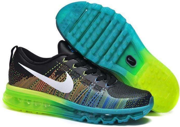buy online 324f8 863ca Nike Flyknit Air Max Running Black Blue Green