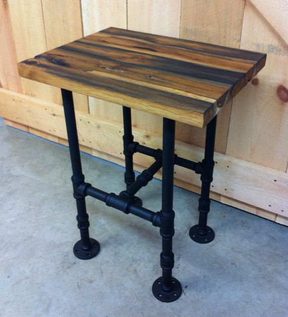 Industrial Style Steel Pipe Pine Wood Tables Desks A: Industrial Style End Table Or Side Table Featuring By