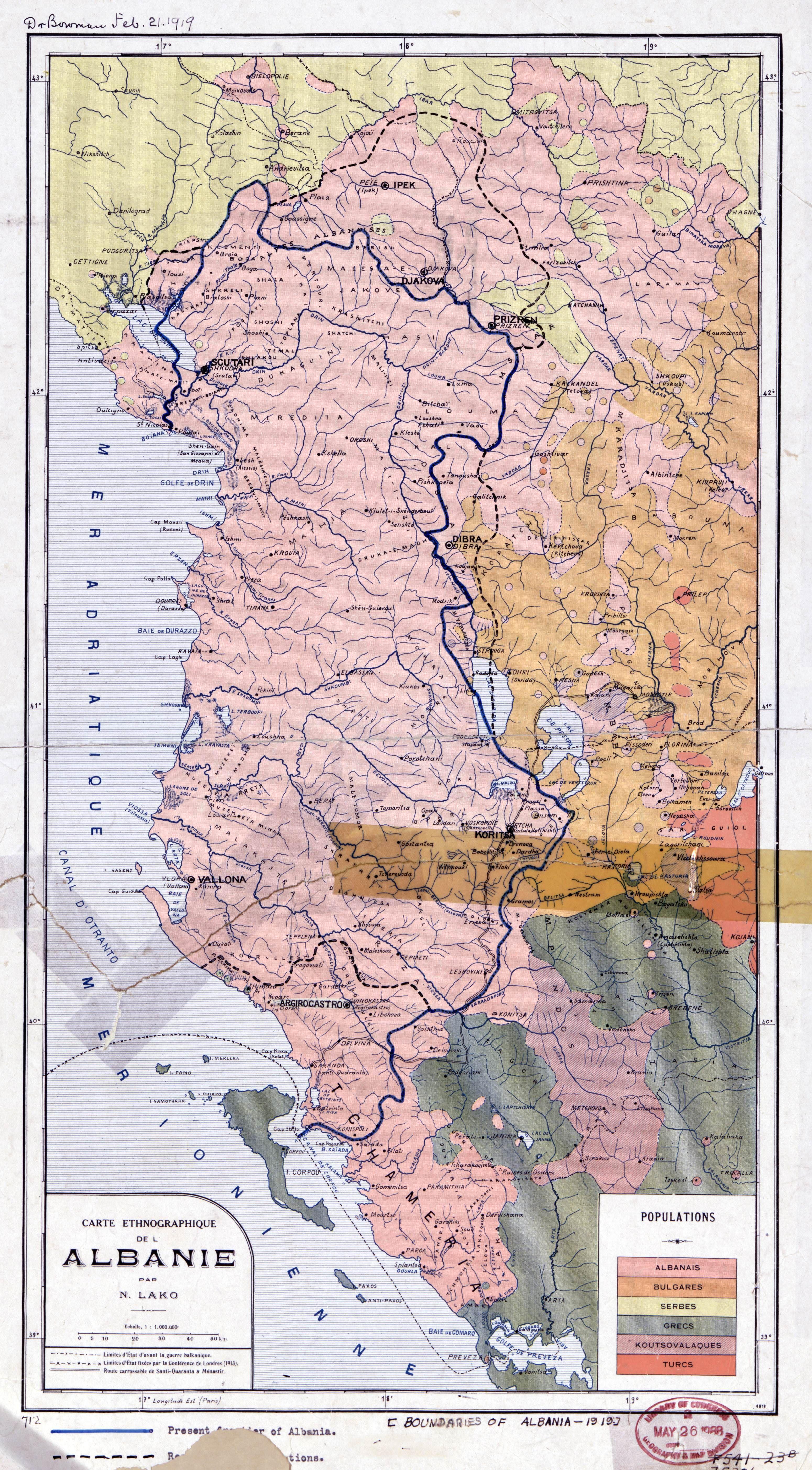 Ethnographic Map Of Albania 1918 Terkep Tortenelem