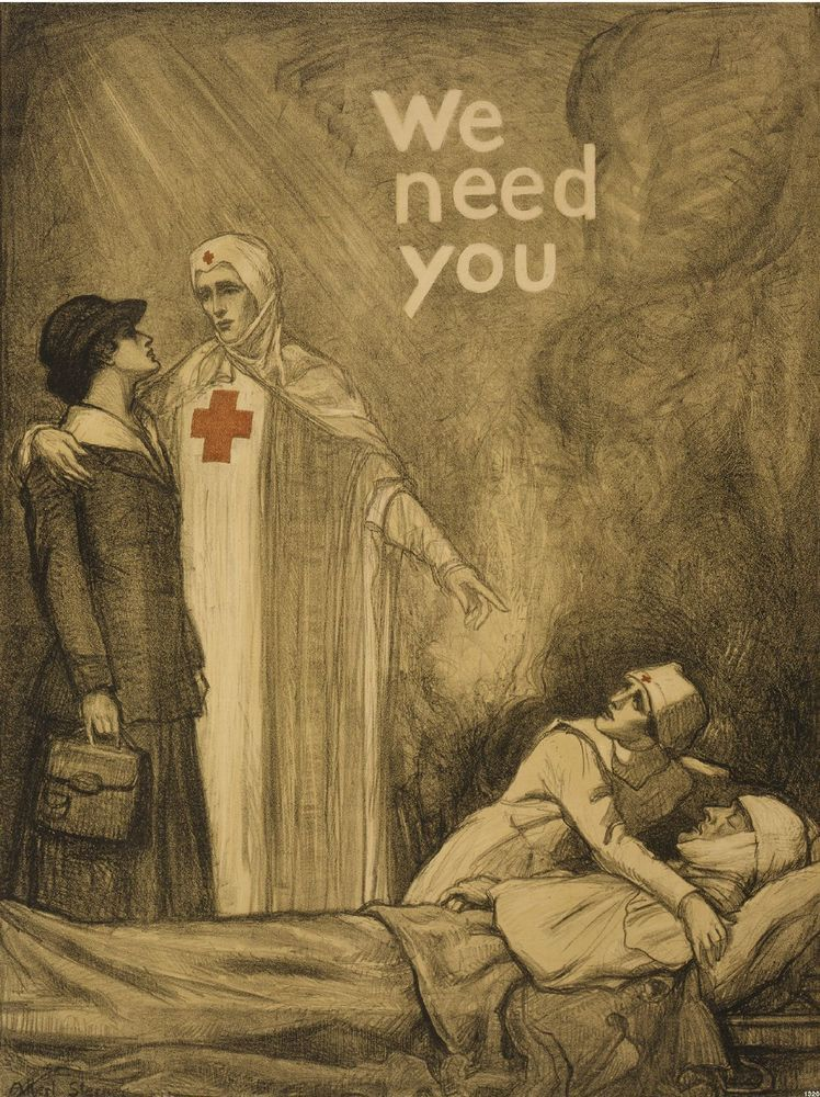 1918 NURSING RED CROSS NURSE RECRUITMENT AD GIFT POSTER STERNER WWI PRINT 1320