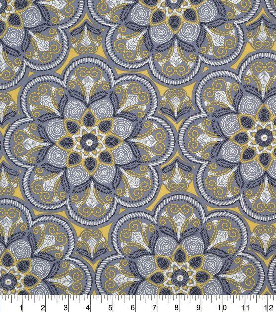 Keepsake Calico Cotton Fabric-Floral Medallion Yellow/Gray ...