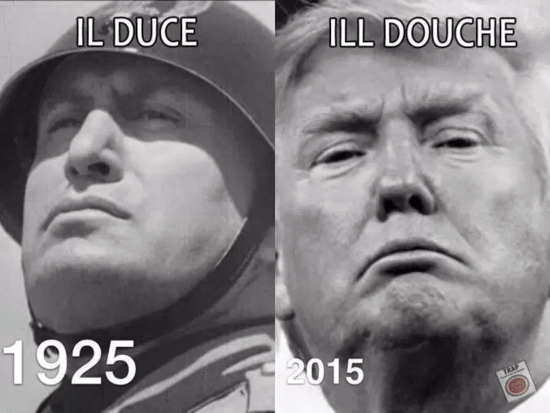 Trump_Mussolini. It's not that they resemble each other. It's that their goals are the same. Scary.