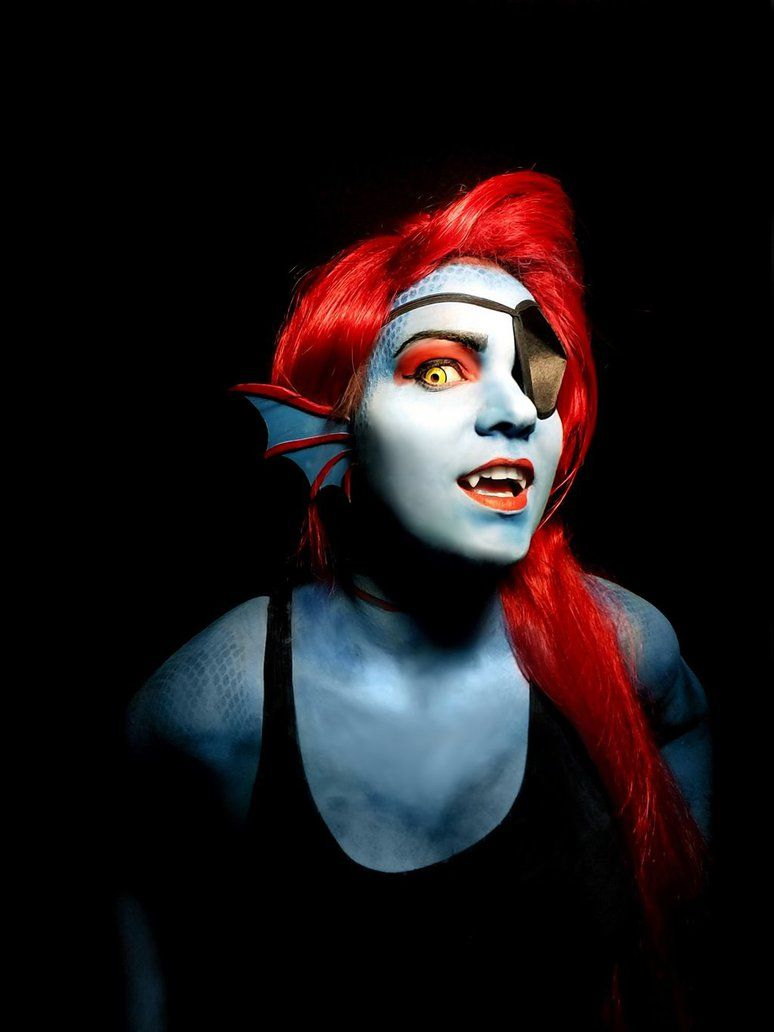 undyne the undying from undertale makeup done by me ear pieces are craft foam contacts - Where Can I Get Halloween Makeup Done