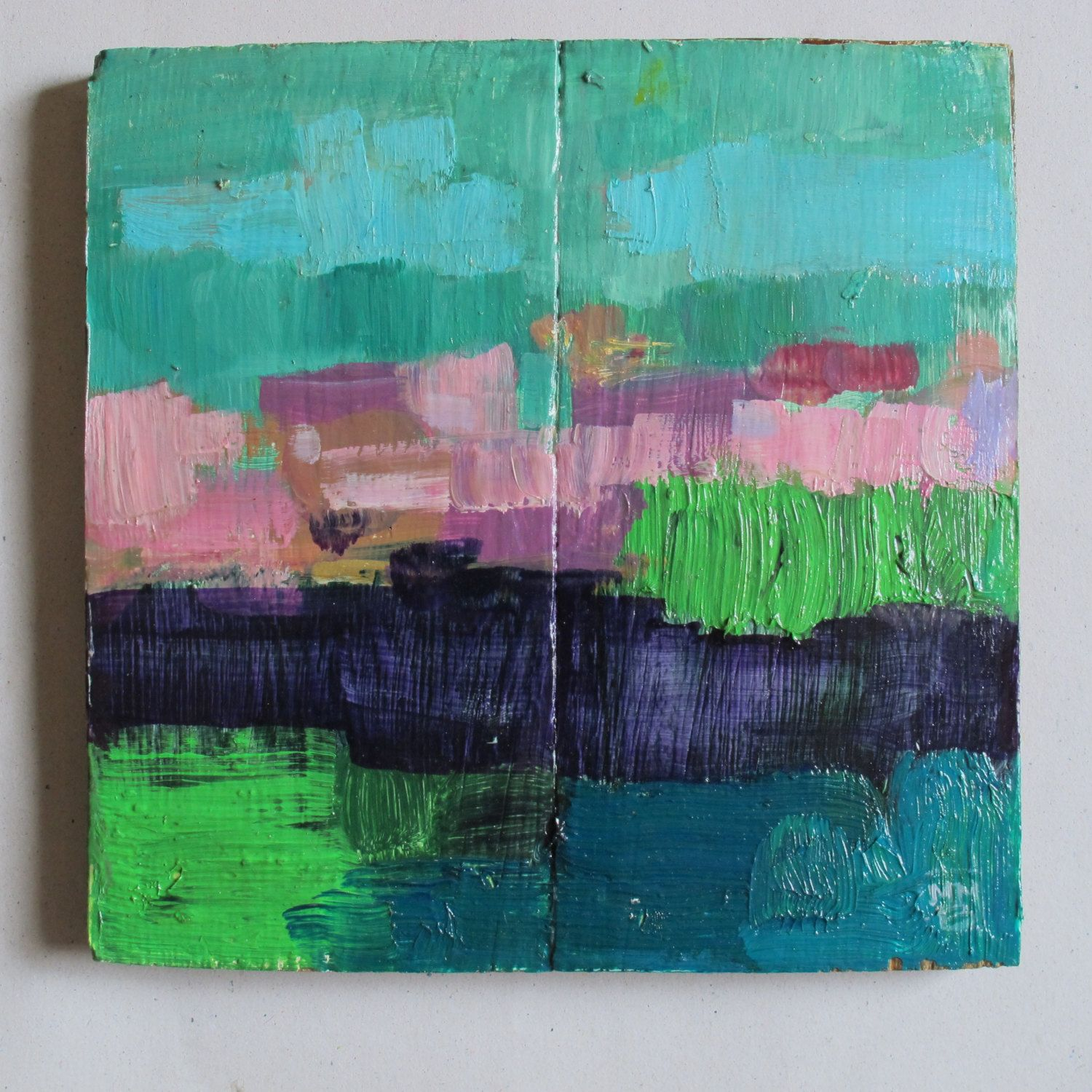 "Original Abstract Painting - Abstract Landscape - ""Turquoise sky"" - Square painting de MariaMazaPaintings en Etsy"