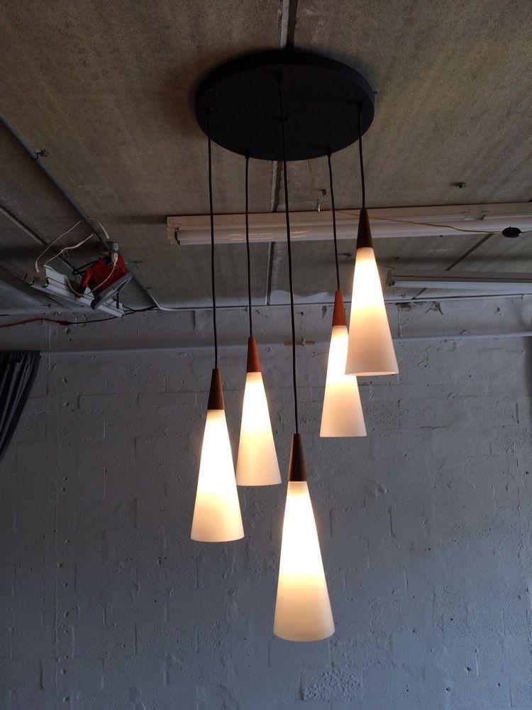 Great danish modern chandelier with glass shades mid century teak ...