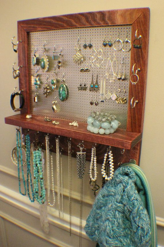 Stunning Cabernet Stained Wall Mounted Jewelry Organizer Wall