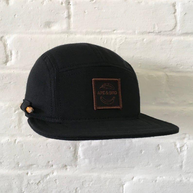 All Black Camp Cap Handmade 5 Panel Hat Baseball Cap Snapback Etsy Panel Hat Five Panel Hat Hats For Men