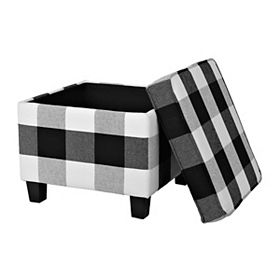 Surprising Black And White Buffalo Check Storage Ottoman White Bralicious Painted Fabric Chair Ideas Braliciousco
