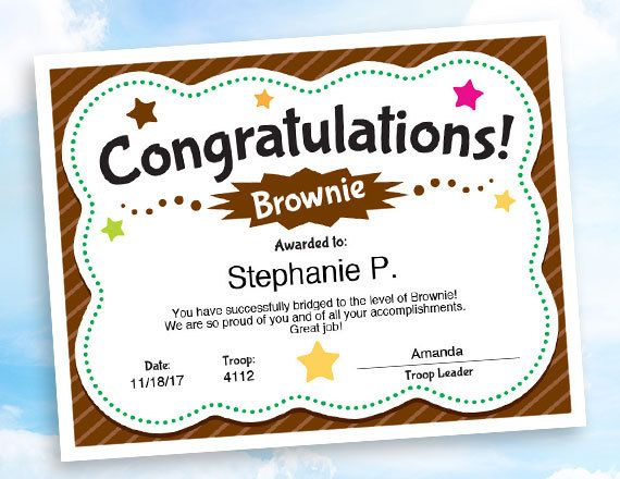 Girl Scouts Brownie Congratulations Certificate Instant Download