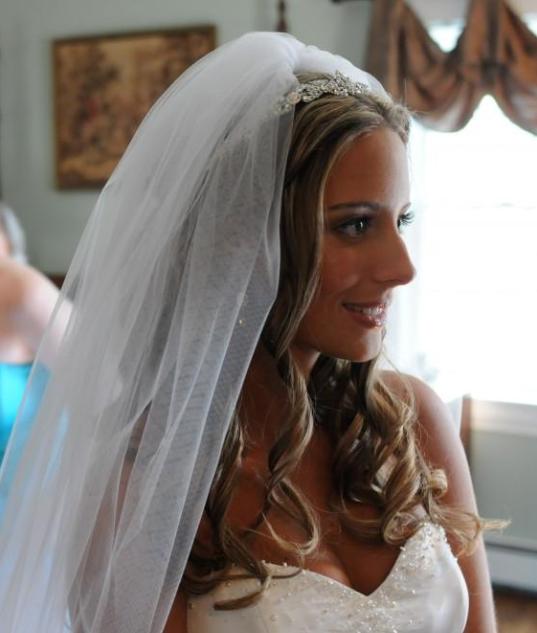 Wedding Hairstyles With Headband And Veil: Curly Wedding Hair, Veil