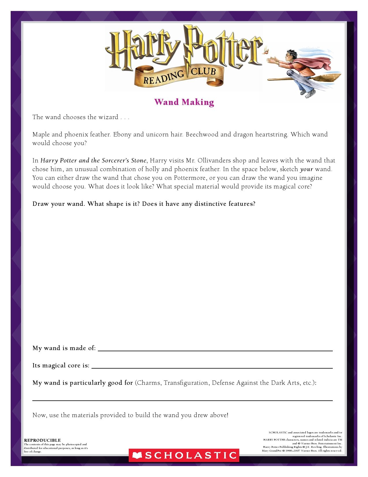 September Make Your Own Wand Craft Your Very Own Wand Download By Clicking Image Above For