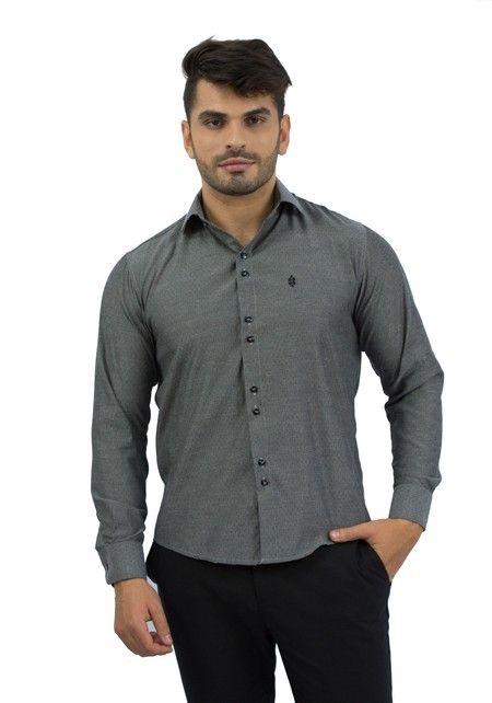 Camisa Social Masculina Cinza