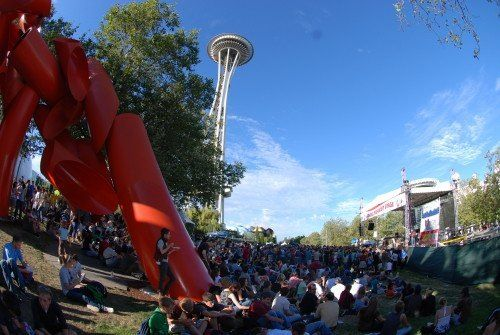 Bumbershoot with Space Needle in background