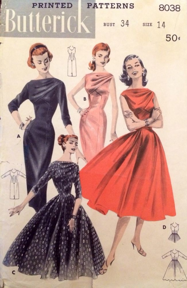 1950 S Vintage Draped Bodice Deep V Wiggle Dress Butterick Sewing