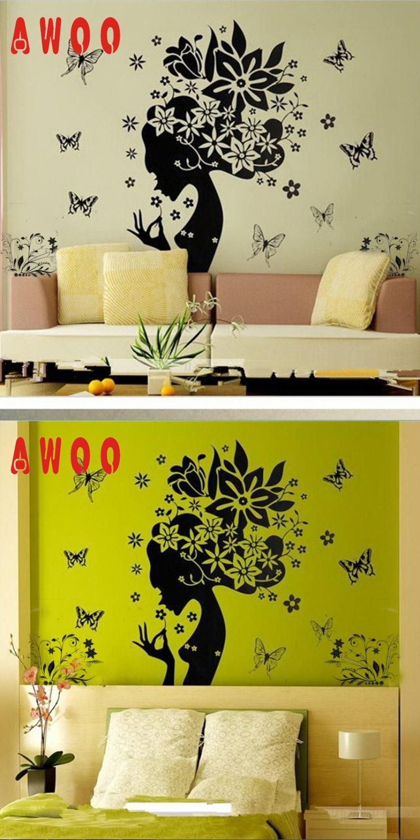 Visit to buy wall sticker pretty butterfly flower fairy girl