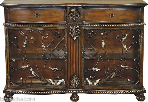 Tuscan Style Decor Scroll Cabinet Entry Hall Accent Sofa