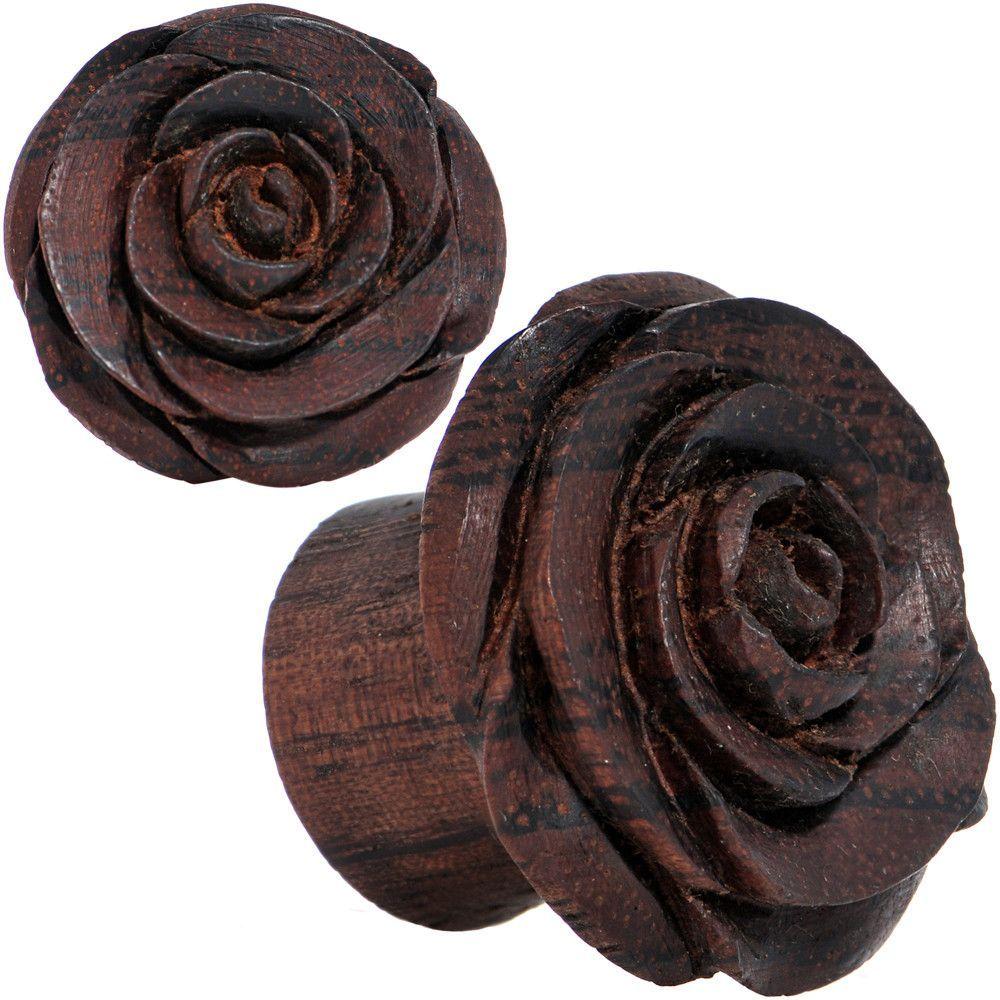 Pair of Cherry Rosebud Plugs Rengas Wood