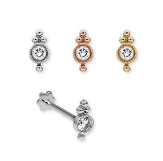 18K white Gold and diamond Tragus stud Jewelry Pinterest
