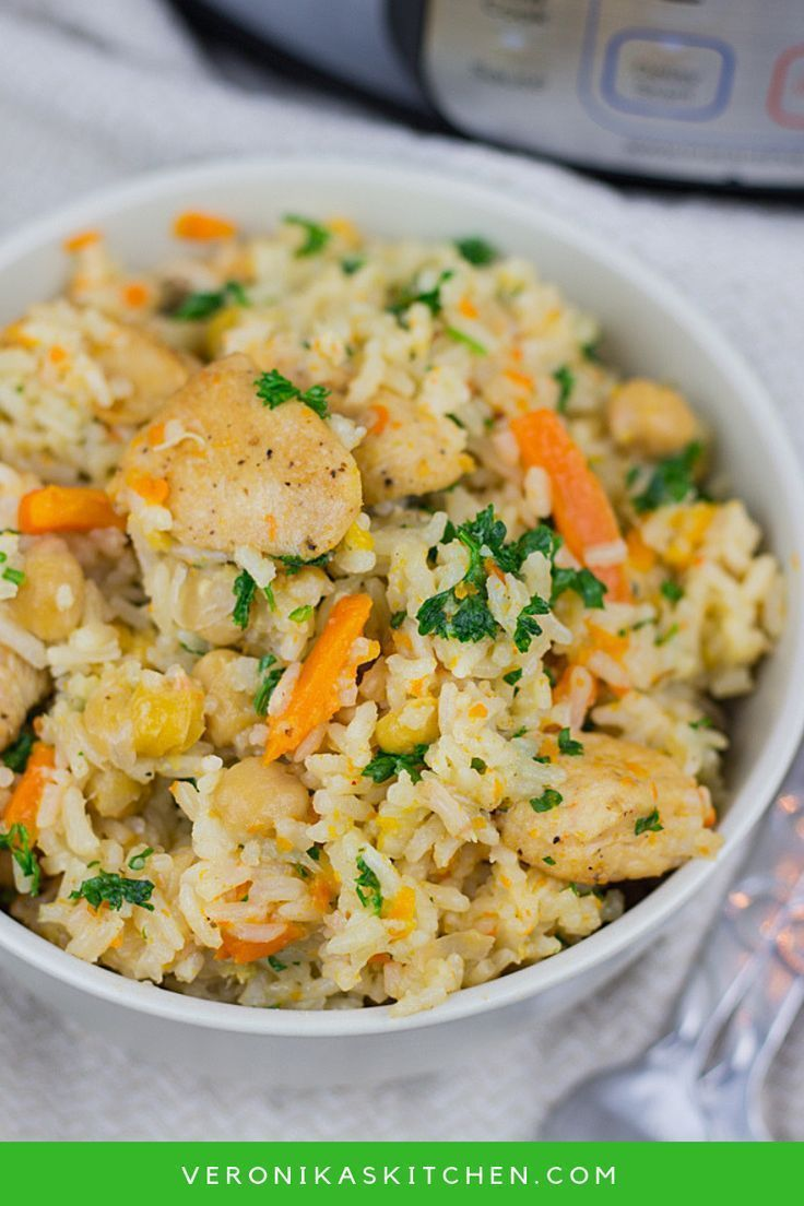 Instant Pot Chicken and Rice Pilaf This Instant Pot Chicken and Rice Pilaf is the best healthy recipe made in a Pressure Cooker. I love making these one pot meals during the busy week for my whole family.