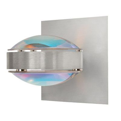 Besa Lighting Optos 1 Light Wall Sconce Finish: Brushed Aluminum, Shade Color: Cool Dicro/Cool Dicro