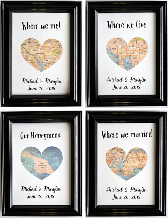 Personalised Wedding//Engagement Location Map Word Art Gift Christmas Anniversary