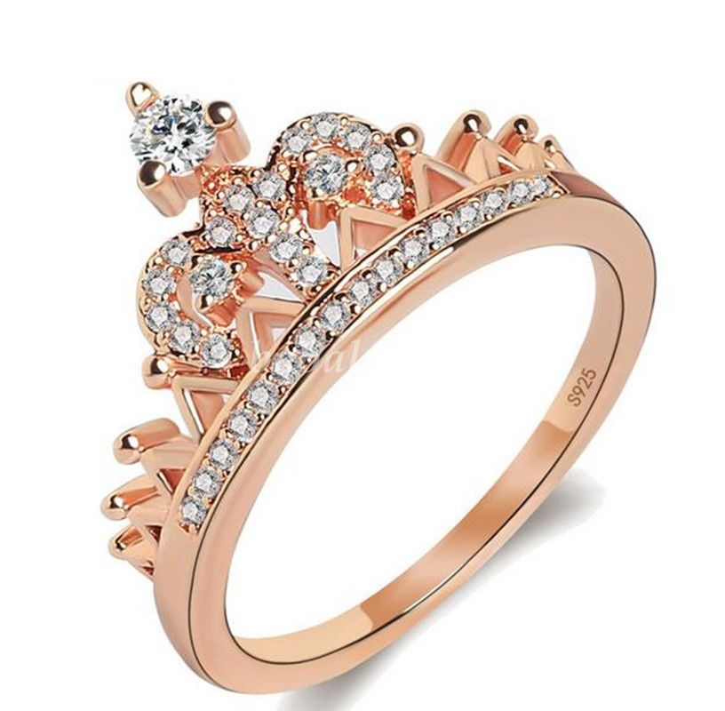 119085641755a Chic Women Jewelry Rose Gold/Silver Crown Shaped With Zircon ...