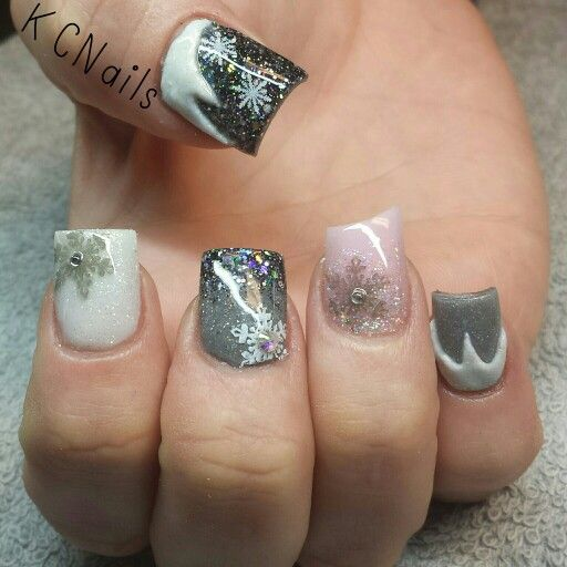 Christmas Acrylic Nails Grey: 2014 Christmas Nails. Grey Pink And White Acrylic Nails
