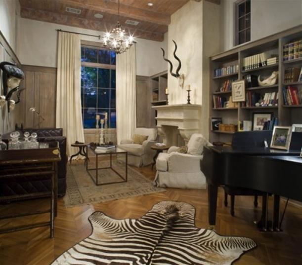 Dark Floor Zebra Skin Rug Creamy Curtains Off White Walls