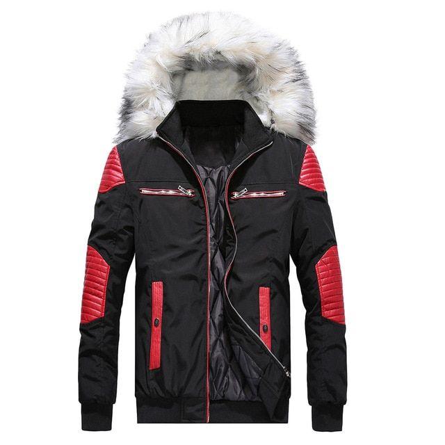 Winter Jacket Parka Men 2018 New Zipper Black Patchwork