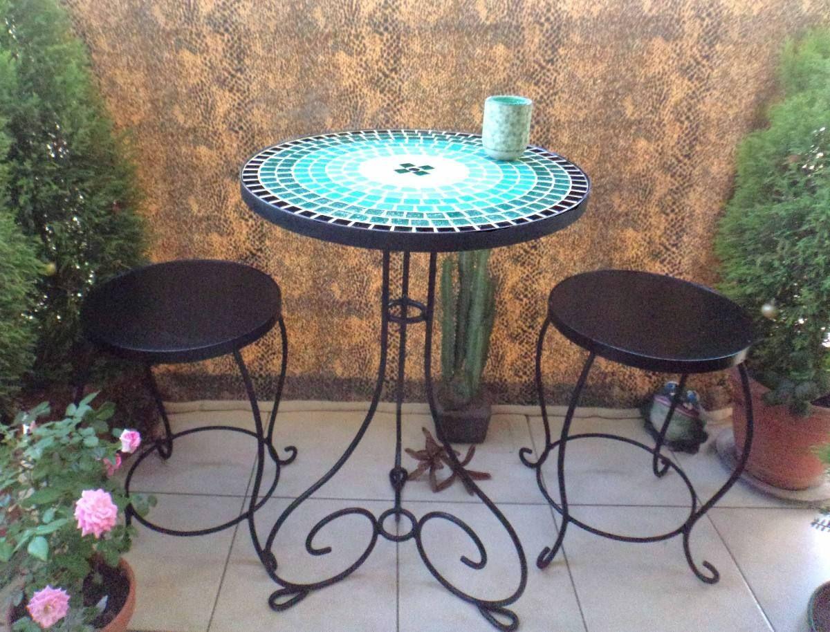 Juego de mesa de hierro forjado con venecitas banquitos - Mesa de hierro ...