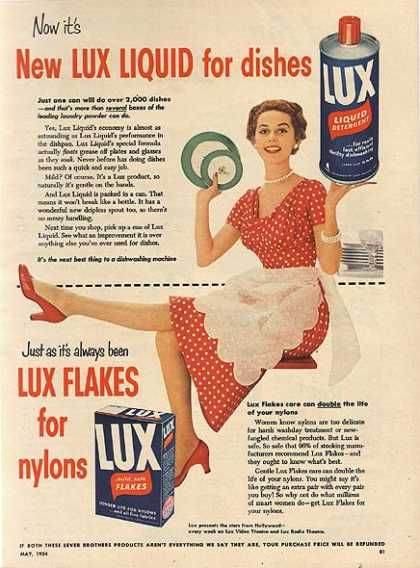 Lux Liquid for dishes, Lux Flakes for nylons // Lux ad, ca