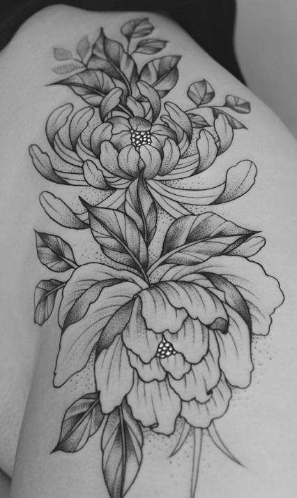 7f014cd920eea 10 Gorgeous Black And Grey Peony Tattoos | TATspiration | Flower ...