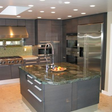 grey kitchen cabinets with marble island | kitchen style