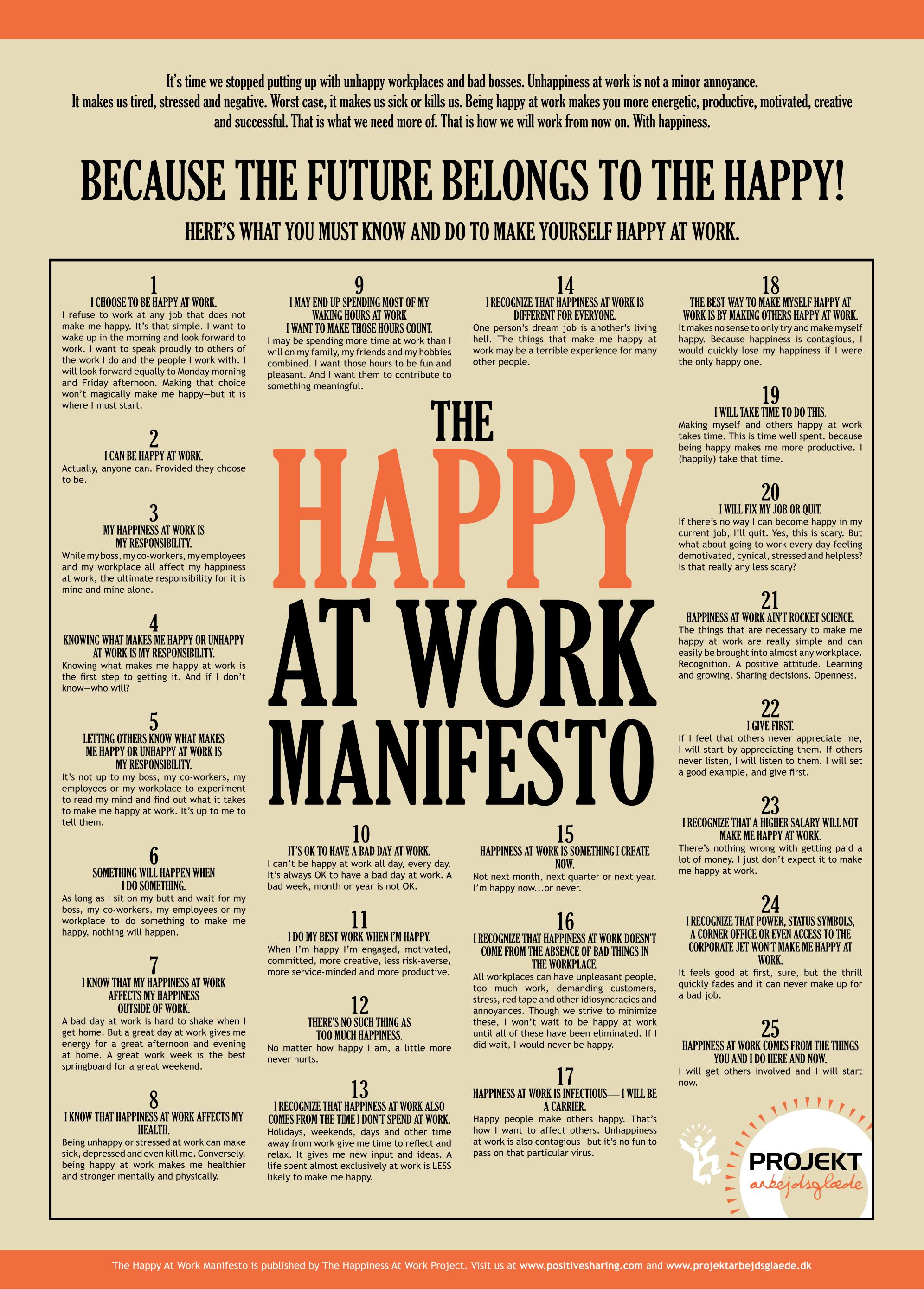 Happy at Work Manifesto | Employee Experience | Pinterest