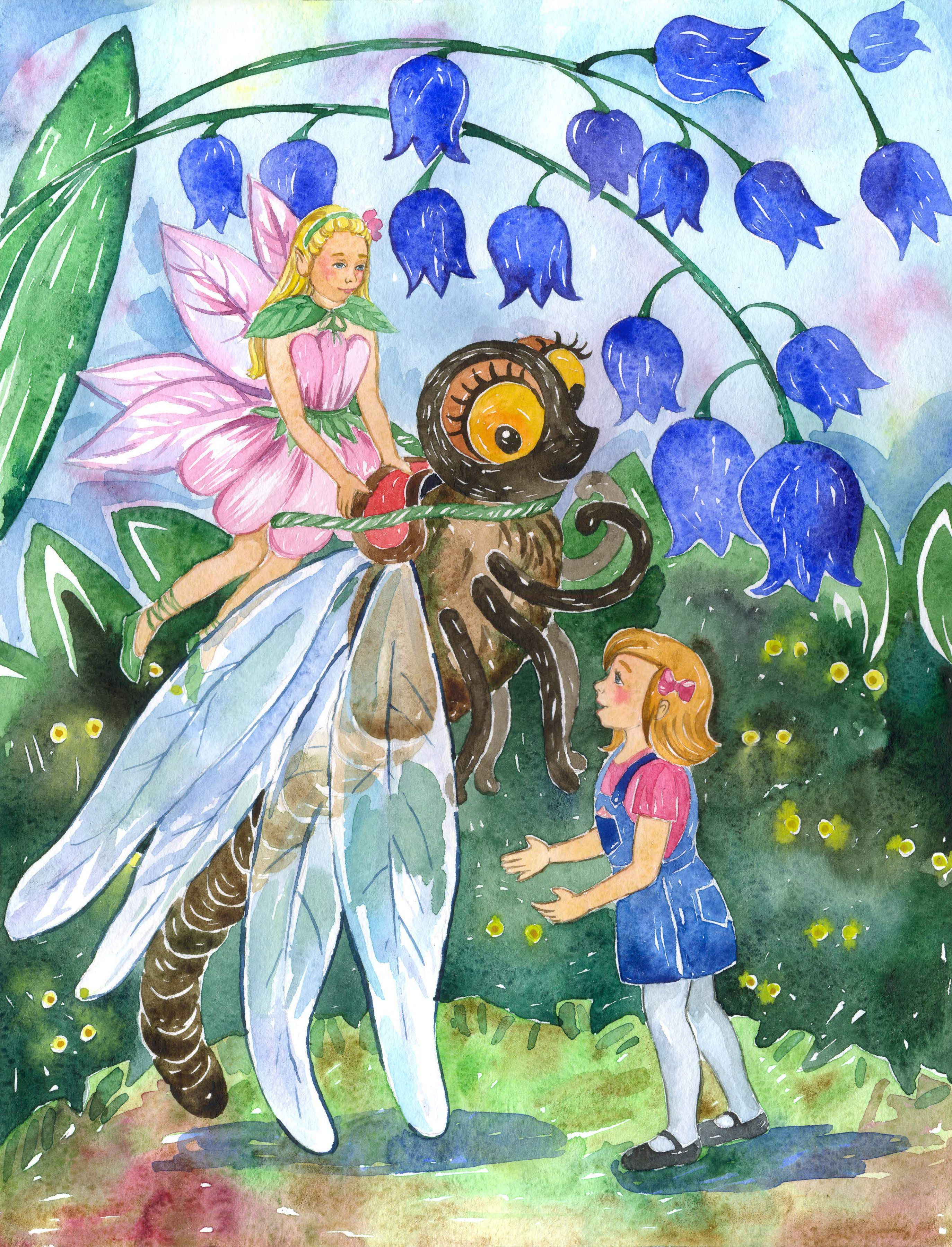 Sarah wants to fly like the fairies however, she tells Apple Blossom