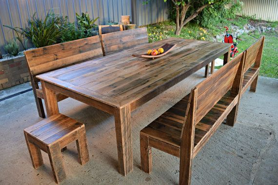Amazing Large 3 X 1 2 Metre Recycled Timber Slatted Dining Table Creativecarmelina Interior Chair Design Creativecarmelinacom