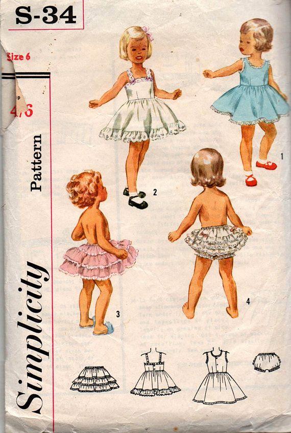 Simplicity s-34 Girls Slip Petticoat & Panties 1950s Vintage Sewing ...