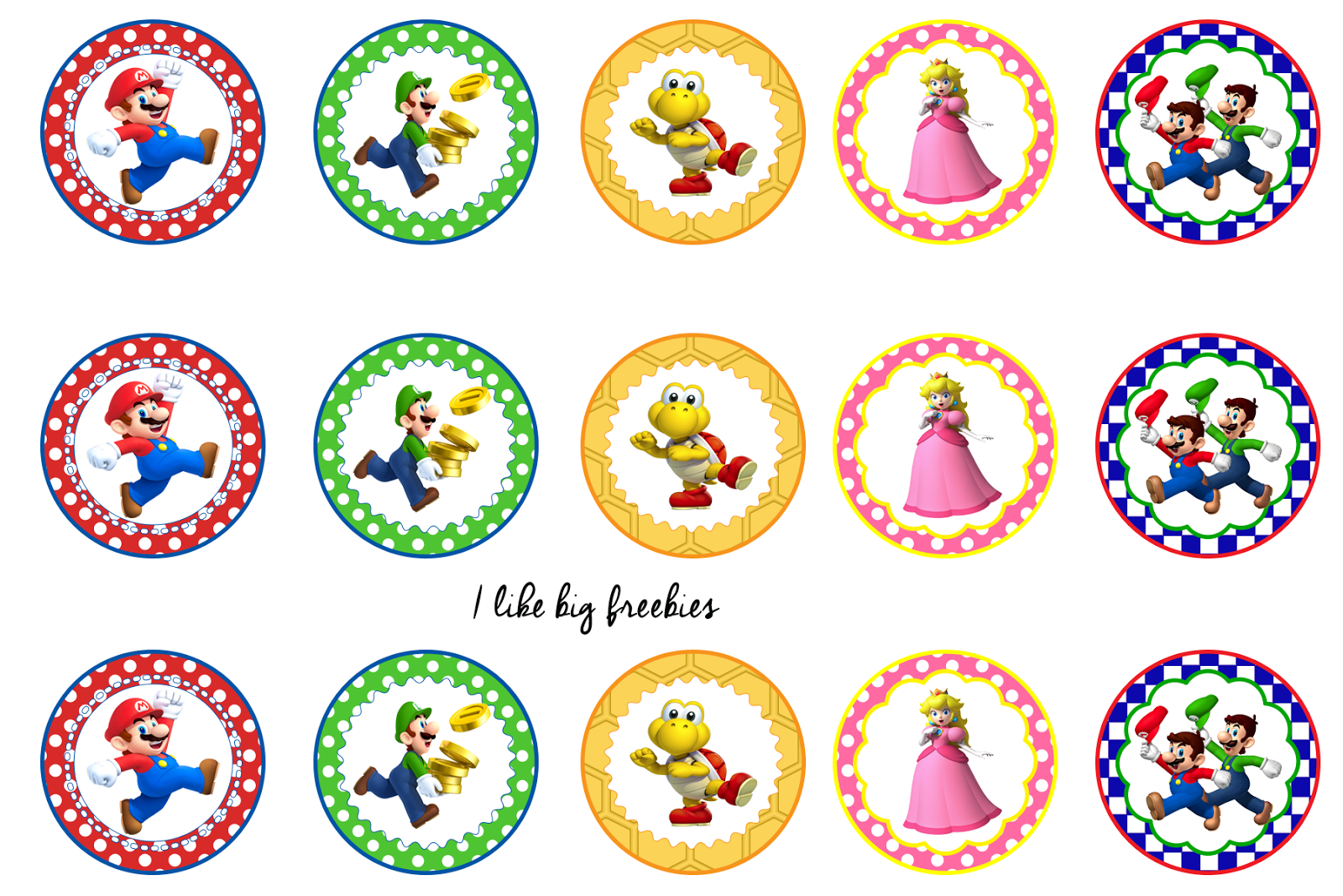 Super Mario Bros bottlecap images/cupcake toppers/printable | Bottle ...